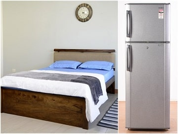 Belle Double Bed and Fridge